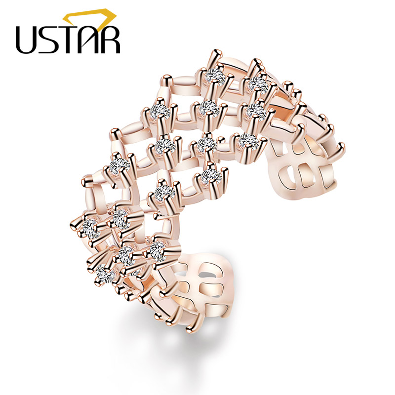 USTAR Geometric Weave Crystals wedding Rings for women engagement finger midi rings female Jewelry Anel Opening adjustable size