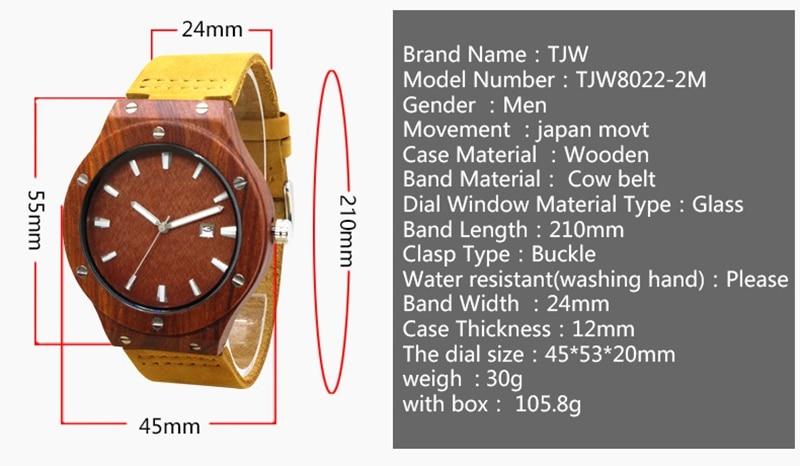 Quartz Wrist Watch  Relogio Feminino  Wooden Watch  Quartz Watches  TJW    Bamboo Wooden Watch  Top Brand Luxury  Date Display  Zebra Wood3