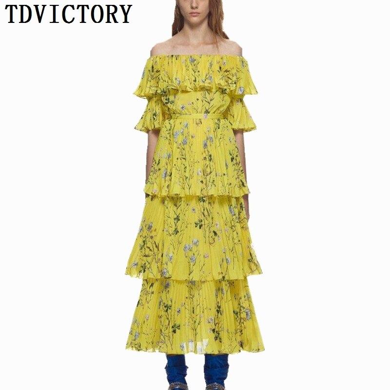 TDVICTORY летнее для пляжа в богемном стиле Плиссированное длинное платье 2018 взлетно посадочной полосы Для женщин желтый цветочный Рисунок обо