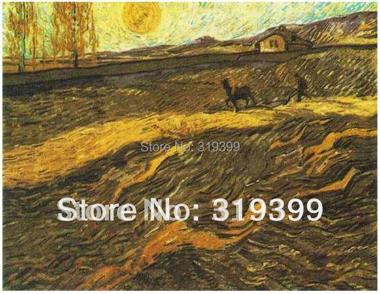 Linen Canvas Oil Painting reproduction,Enclosed Field with Ploughman in Auvers by vincent van gogh,100% handmade,DHLShipping