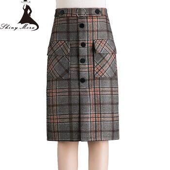cf6679f11 SHINYMORA 2017 primavera otoño mujeres faldas hasta la rodilla cinturón  gratis nueva moda señoras ...
