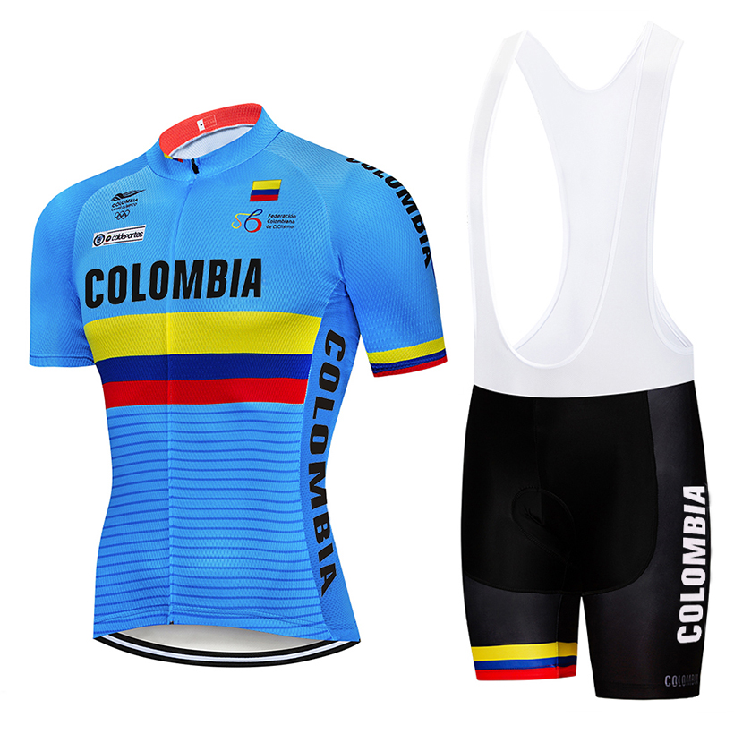 Summer 2019 Colombia Cycling Jersey 9D Set MTB Uniform Bicycle Clothing Quick Dry Bike Clothes Mens Short Maillot Culotte Suit