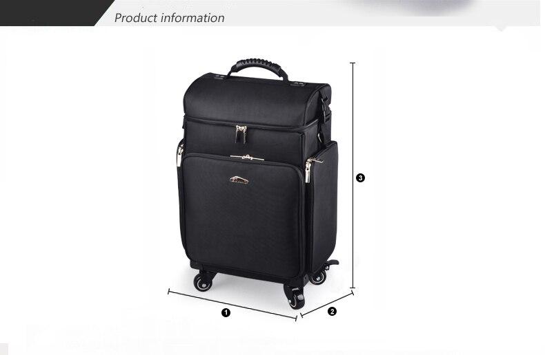 Ulti-função profissional mack-up rolando bagagem girador caso