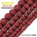 Cuentas de piedras naturales de lava roca volcánica roja de alta calidad ronda del grano flojo 4/6/8/10/12mm suministro de granos para la joyería que hace diy