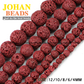 Red Lava beads Natural Stone beads Volcanic rock High quality Round Loose bead 4/6/8/10/12MM Supply beads for jewelry making DIY