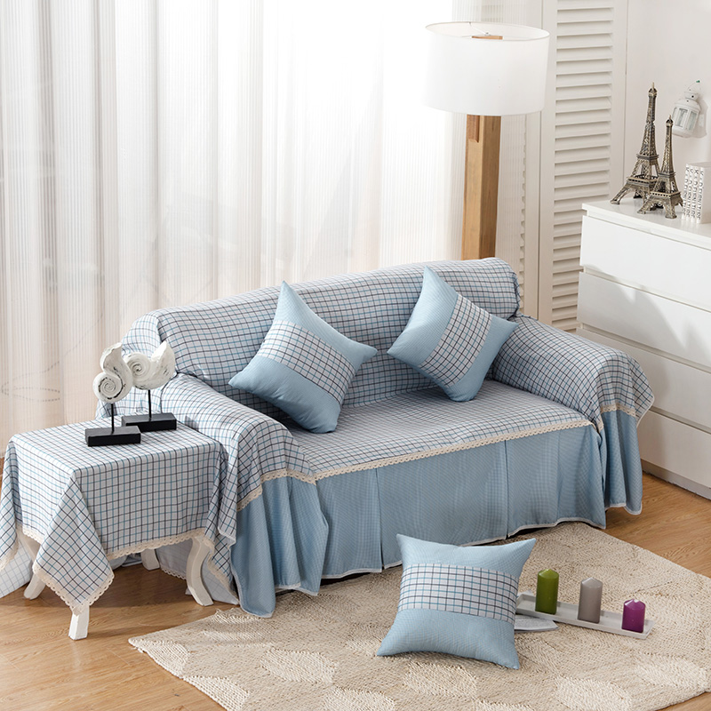 US $14.28 16% OFF|Plaid Striped Sofa Cover Slip resistant white blue High  quality new fashion Sofa Cover Customize Simple lace 123 seat Sofa Cover-in  ...