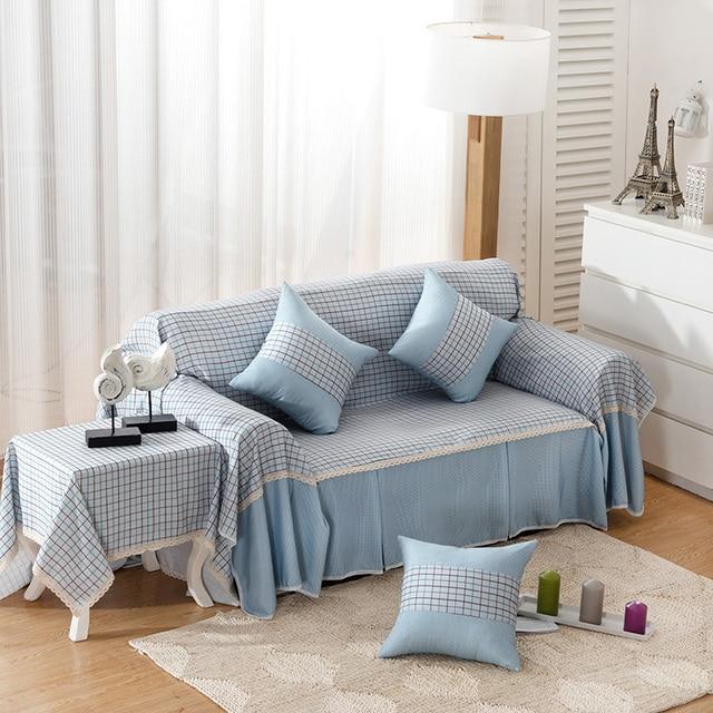 Plaid Striped Sofa Cover Slip resistant white blue High quality new ...