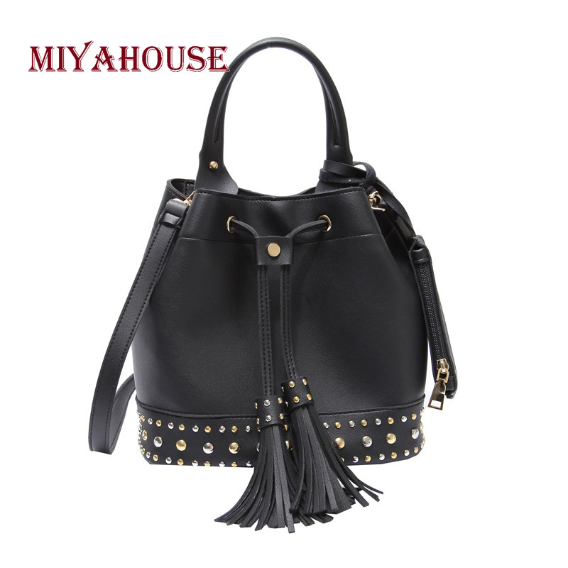 Miyahouse Fashion Rivet Design Bucket Bag Women PU Leather Handbag With Tassel Drawstring Solid Color Croosbody Bag Lady sweet women s tote bag with color block and pu leather design