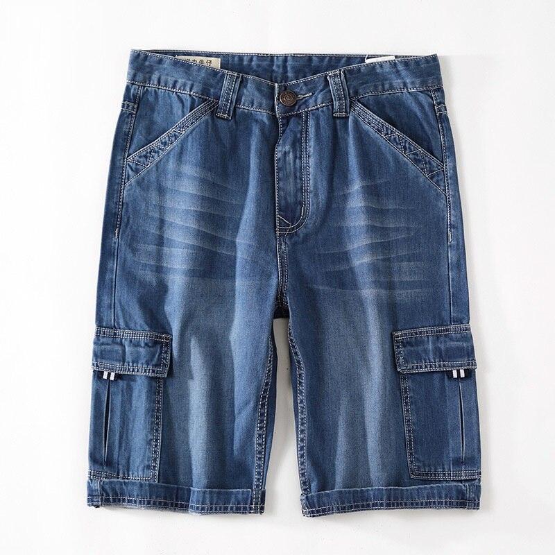 Icpans Casual Shorts Stretch Knee Length Jeans Designer Cotton Denim Summer Cargo Shorts Men Big size 40 42 44 46 48
