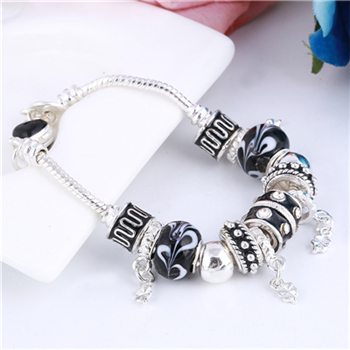 Pink Crystal Charm Silver Bracelets & Bangles for Women  Beads Silver Bracelet Femme Jewelry 29