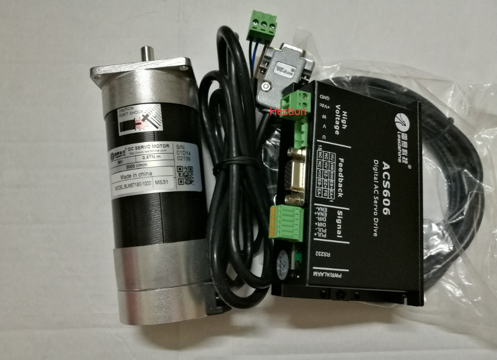 New CNC servo system Leadshine servo drive ACS606 work 36-60 VDC and a Brushless servo motor BLM57180-1000 encoder is 1000 lines set sales genuine leadshine blm57180 square flange servo motor and acs606 servo drive and encoder cable and rs232 tuning cable