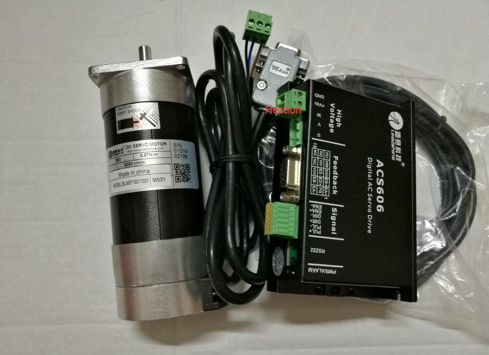 Nouveau CNC système servo Leadshine servo drive ACS606 travail 36-60 VDC et un Brushless servo moteur BLM57180-1000 codeur est 1000 lignes