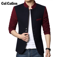 New Fashion Men Casual Slim Fit Patchwork Brand Blazer Suit Jacket Red Coat Male Clothing Korean