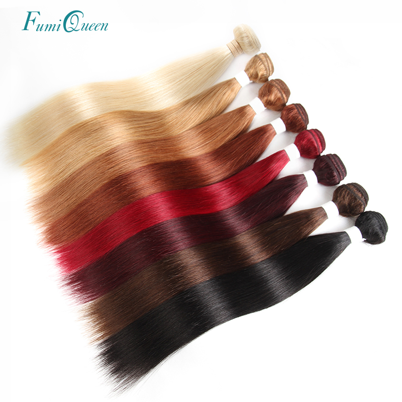 Ali FumiQueen 1/3/4 Pcs Remy Hair Weave Bundles 4#/BURG/99J/27#/33#/30#/Blonde 613 Brazilian Straight Pre-Colored Human Hair