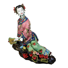 Antique Chinese Lady Ceramic Statue Xiari Pure Manual Figure Craft Collectible Porcelain Figurine Christmas Vintage Home Decor