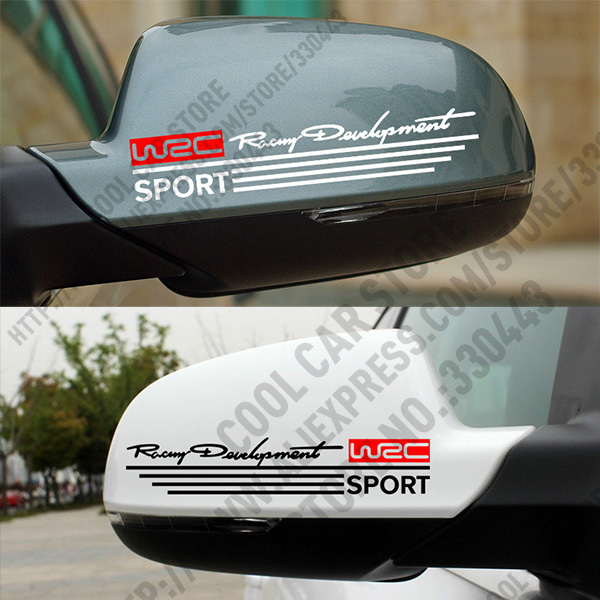 1 pair wrc racing development rearview mirror car sticker decal for ford vw citroen peugeot mitsubishi toyota car styling in car stickers from automobiles