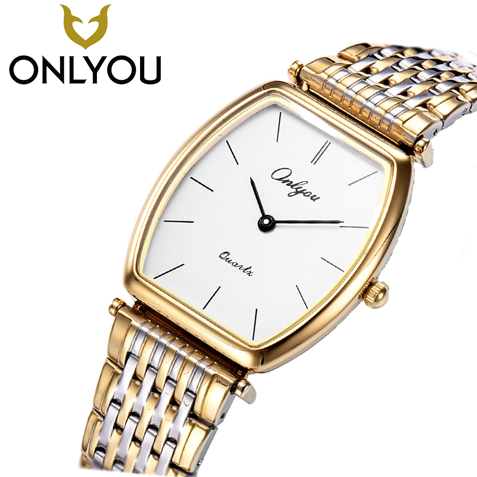 ONLYOU Lovers Watch Man Square Clock Mens Watches Top Brand Luxury Fashion Stainless Steel Watch For Men Women  Wholesale onlyou brand luxury fashion watches women men quartz watch high quality stainless steel wristwatches ladies dress watch 8892
