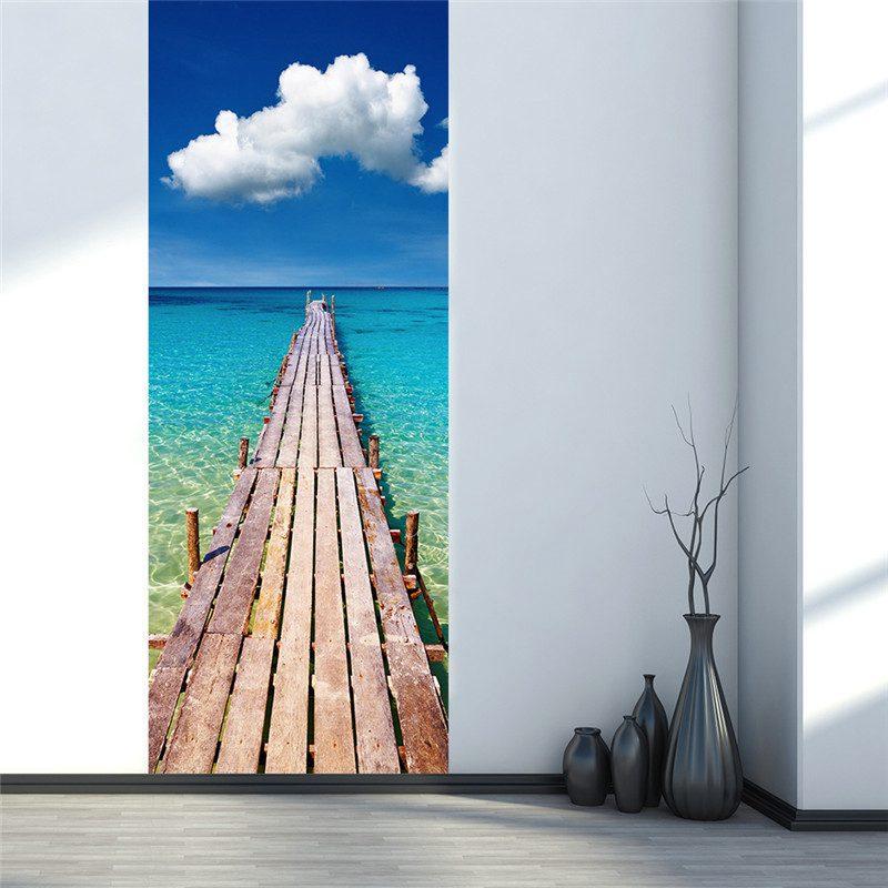 3D Porte Wall Sticker Frigo Stickers Wrap Murale Paysage Auto-Adhésif Décor À La Maison, balnéaire jetée en bois