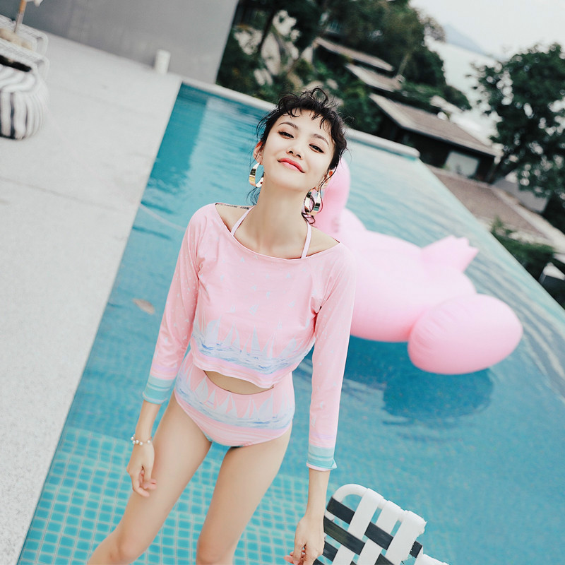 Beach sports Swimwear woman one-piece swimsuit Sexy Small chest Gather together Swimsuit Sexy Waist student Two-piece swimsuit