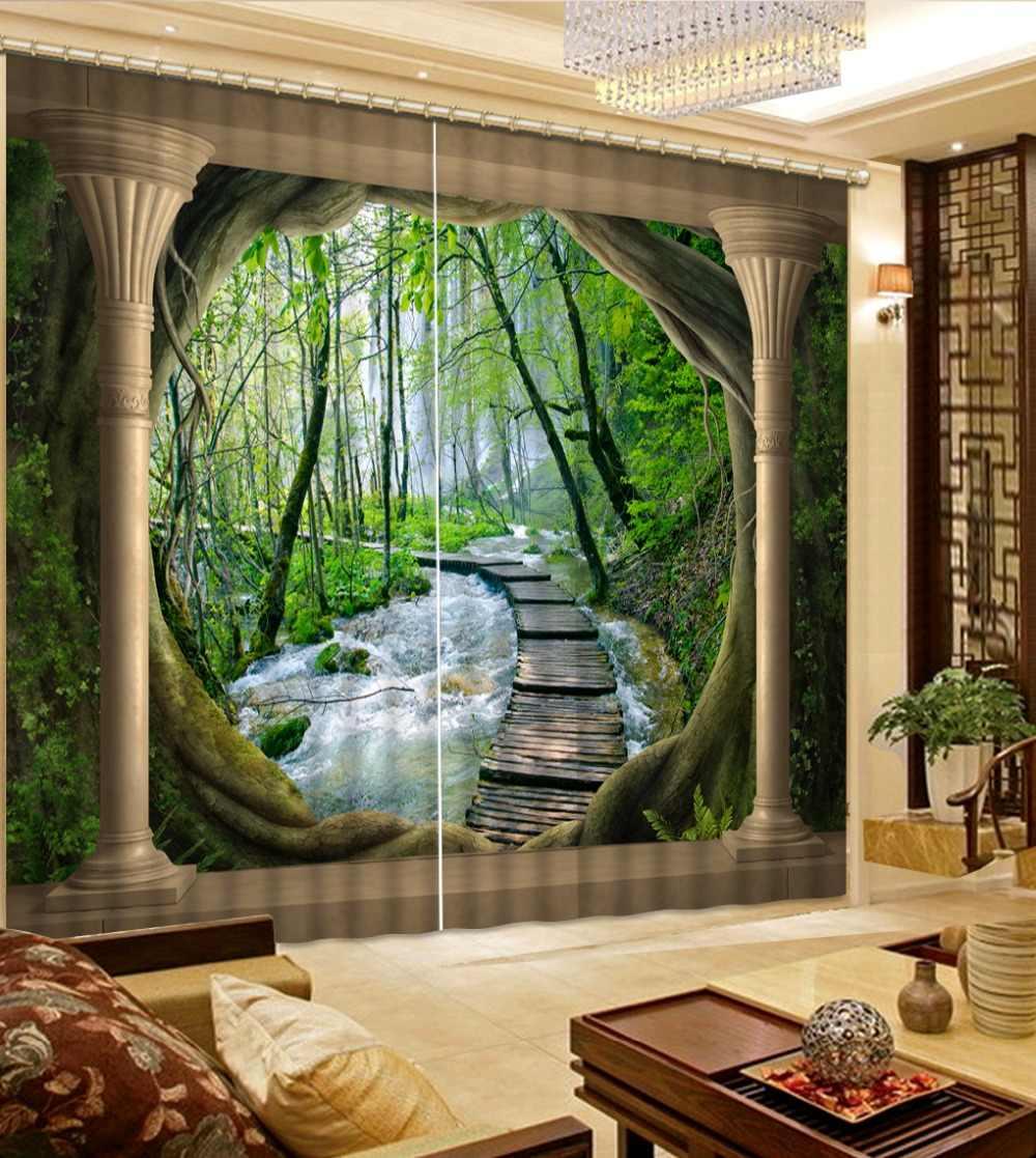 2019 3D וילון מותאם אישית יער עמודה רומית וילונות לחדר שינה סלון מטבח וילונות Blackout וילונות