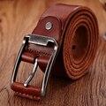 2016 de Lujo de los hombres correa de cuero cinturones de cuero genuino correa de hebilla de diseño de moda de los hombres de color marrón