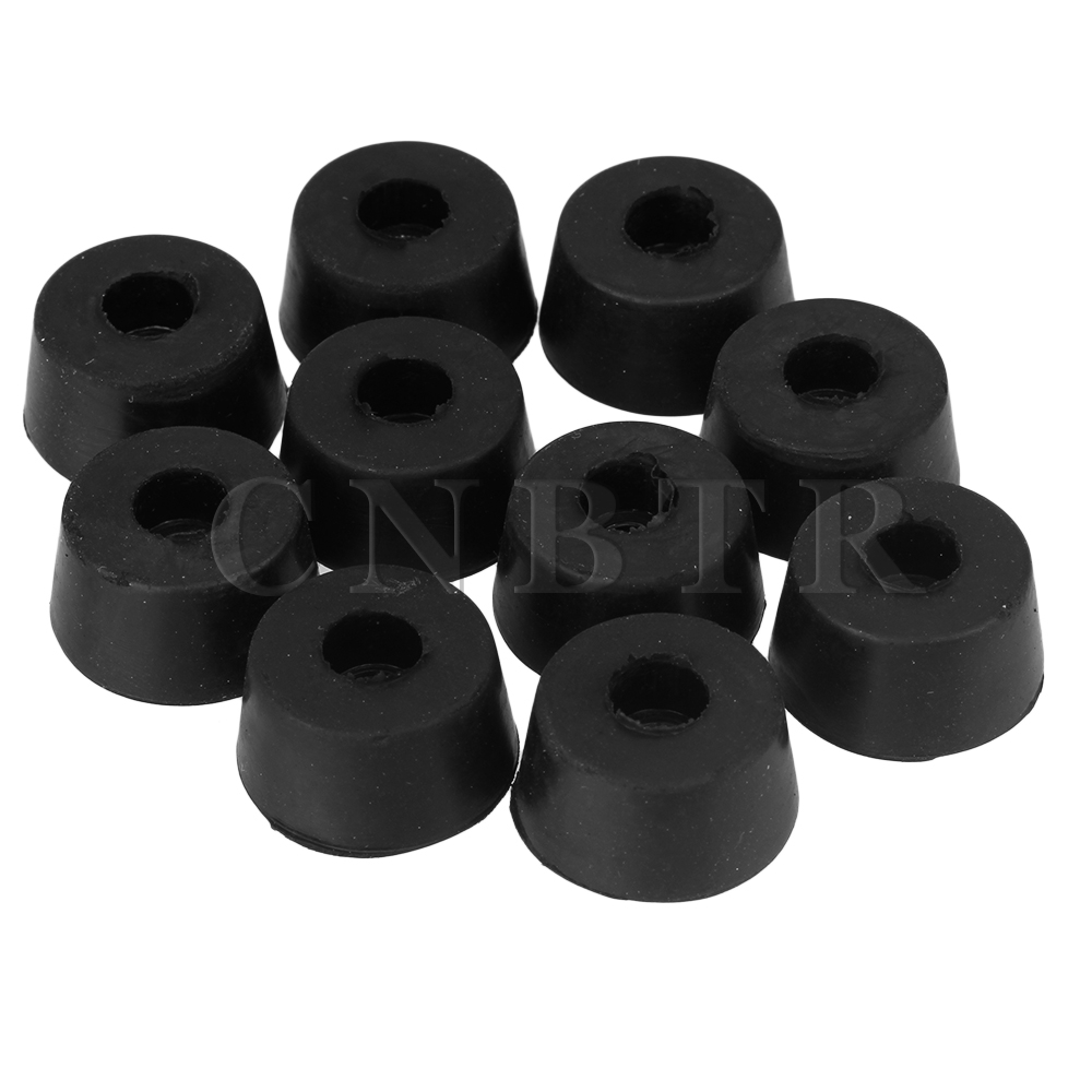 CNBTR 12MM Round PVC Black Finisher Pipe Stop Rubber Screw