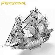 Piececool A Flying Dutchman 3D lézeres vágás DIY fém hajó modell 3D fém puzzle Oktatási Diy Jigsaws Ajándékok