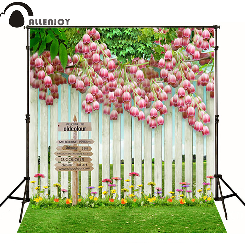 Allenjoy baby backdrop photography photo background pink flowers lawn fence cute backgrounds for photo studio new arrival background fundo plant flowers fence 7 feet length with 5 feet width backgrounds lk 2802