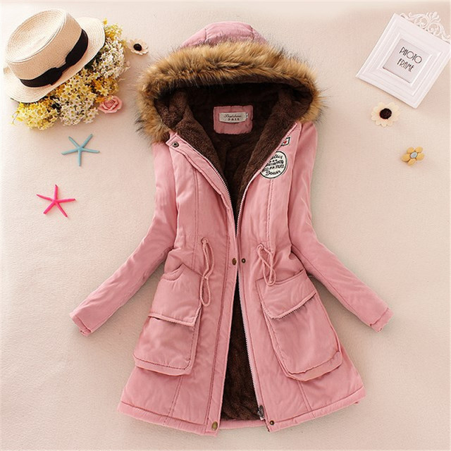 2017 New Long Parkas Female Winter Coat Thickening Cotton Jacket Womens Casual Outwear Military Hooded Femme Fur Coats MZ651