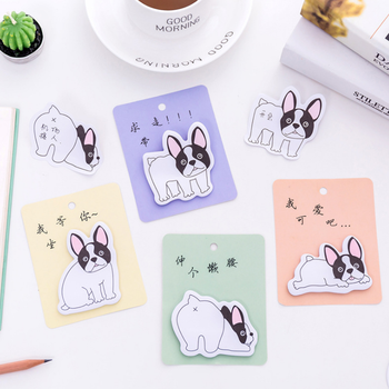 4 Pcslot Cute Cartoon naughty dog weekly plan Sticky Notes Memo Pad stationery School Supplies Planner Stickers Paper plan