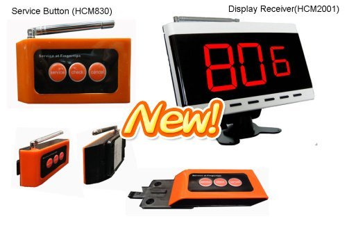 Guest service calling system,20pcs of table buzzer and 1 pcs of display receiver. Singcall, 433.92Mhz