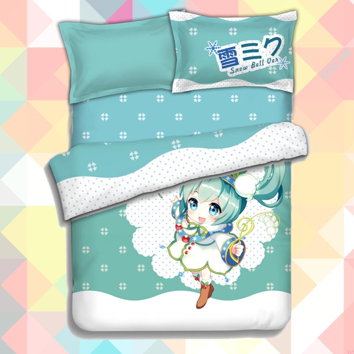 23abc8ab7d Anime Cartoon Hatsune miku neve Quilt Cover Macio Impresso Conjunto de Cama  Com Fronhas Folha de Cama Set Capa de Edredão Sem.
