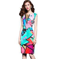 Summer 2017 Fashion Bodycon Dress Ladies Graffiti Print Midi Dresses Hole Back Geometric Graffiti Office Dress
