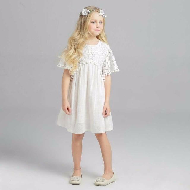 5f120bc9f7e Everweekend Girls Princess Tassels Lace Dress Beige Color Ruffles Western  Fashion Fringe Dress Sweet Children Holiday Dress