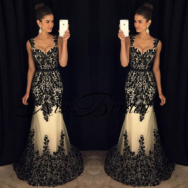 New Sexy Long   Prom     Dresses   2017 Sweetheart Neck Sleeveless Floor Length Black Appliques Tulle Evening   Dress   Abendkleider