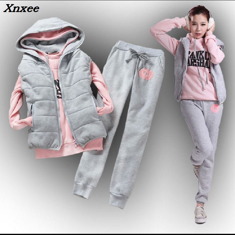Autumn And Winter New Fashion Women Suit Women's Tracksuits Casual Set With A Hood Fleece Sweatshirt Three Pieces Set Xnxee