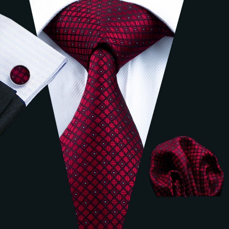 LS-704 Men`s Tie 100% Silk Red Plaid Jacquard Woven + Hanky Cufflinks Sets For Formal Wedding Business Party Free Postage