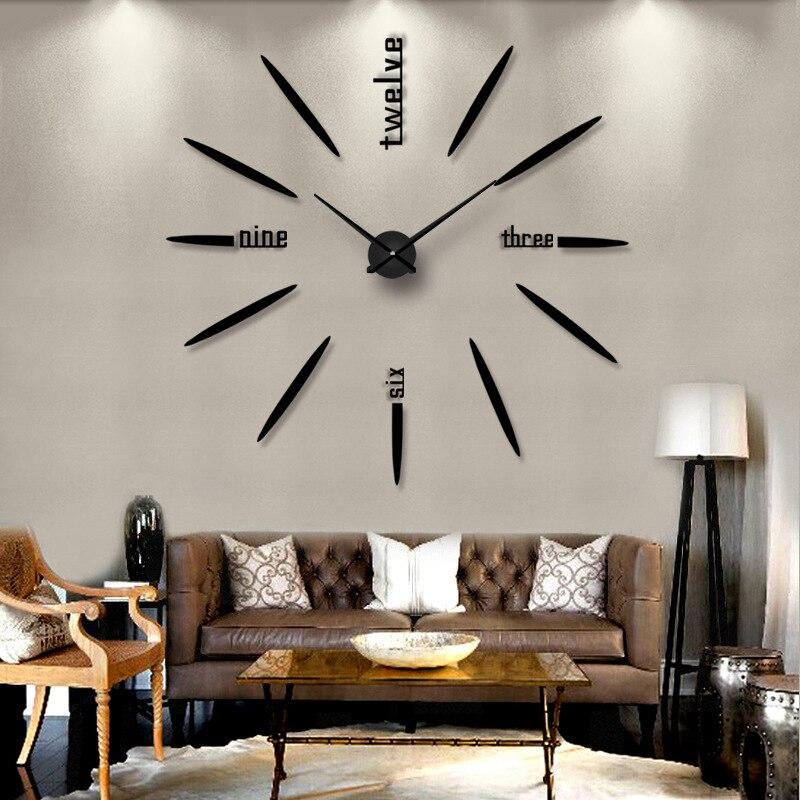 Creative bricolage acrylique horloge murale maison salon décoration artisanat mode muet Quartz aiguille grandes horloges envoyé ami Sticker mural