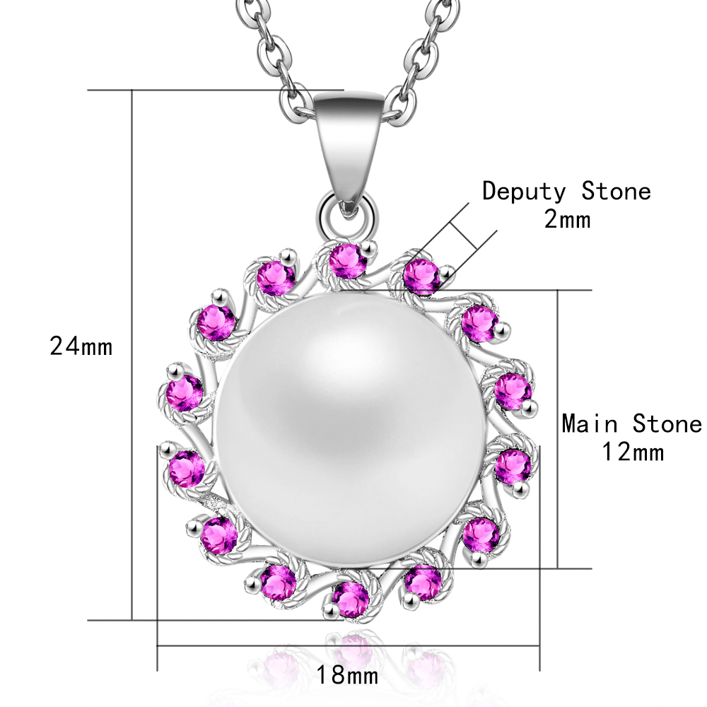 100% 925 Sterling Silver Necklace Charm Blooming Pearl Pendant Necklace Lady Necklace Wedding Jewelry