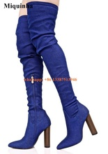 New Design Women Fashion Pointed Toe Blue Denim Over Knee Thick Heel Boots Stretch Long Slim Bandage High Heel Boots Sexy Shoes