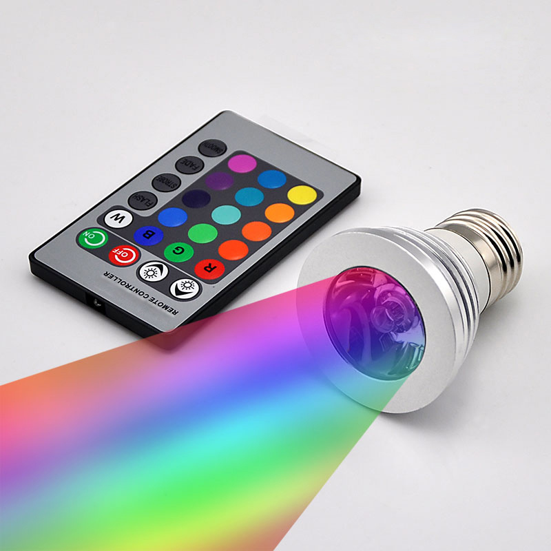 <font><b>LED</b></font> RGB Bulb <font><b>Lamp</b></font> E27 E14 GU10 3W 5W 10W Color Magic Spot Light 24key Remote Control Dimmable <font><b>LED</b></font> Night Light 110V 220V Holiday image