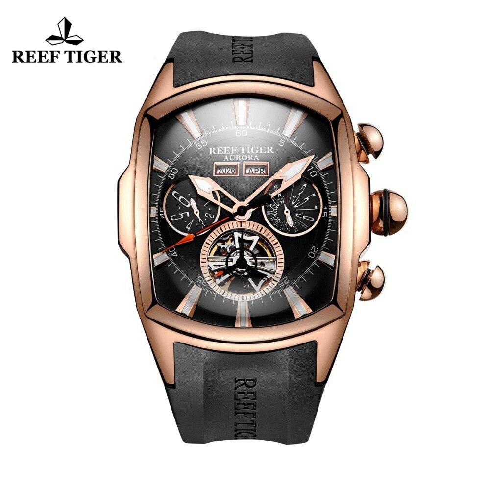 Reef Tiger/RT роскошные часы для мужчин Tourbillon аналоговые автоматические часы розовое золото Тон спортивные наручные часы каучуковый ремешок RGA3069