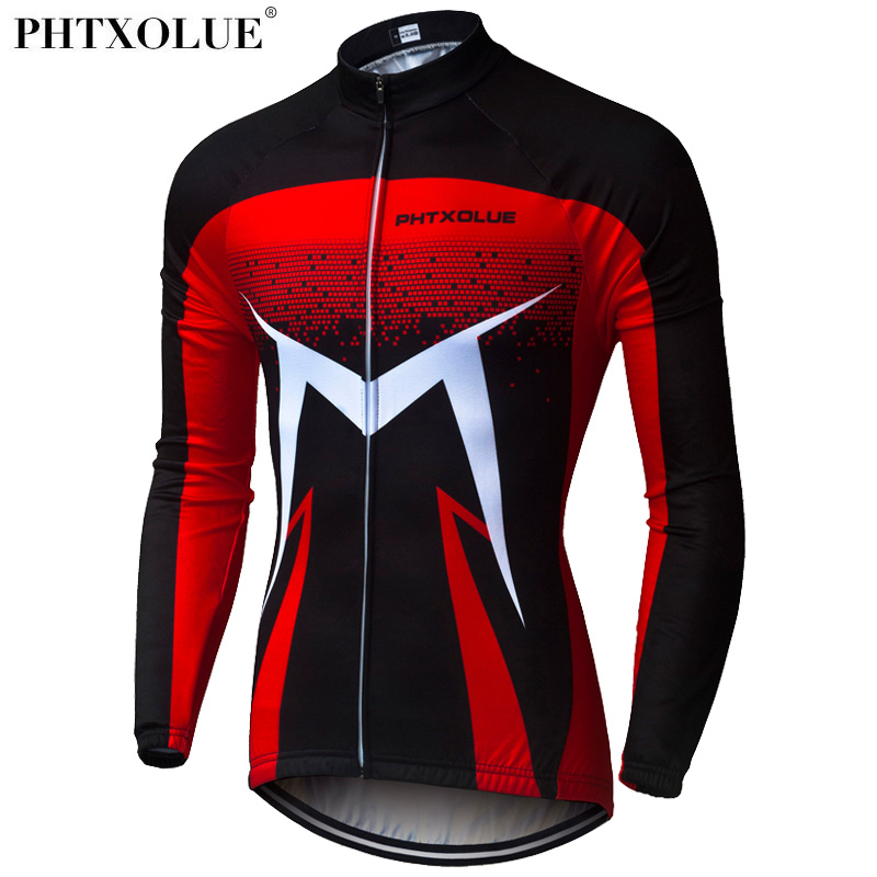 Phtxolue 2018 Winter Thermal Cycling Clothing Men Red Blue Green Mtb Bike Bicycle Wear Long Sleeve Cycling Jersey QY0378|Cycling Jerseys| |  - title=
