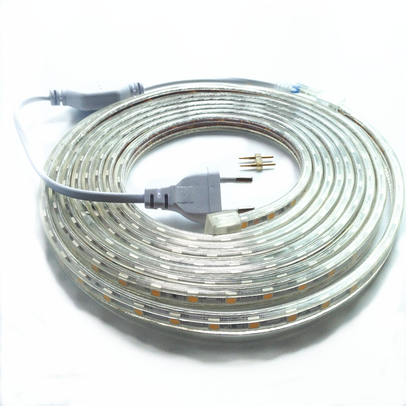 SMD 5050 AC220V 60leds/m IP68 Led Strip Light LM high 1M/2M/3M/4M/5M/6M/7M/8M/9M/10M+Power Plug free ship аксессуар greenconnect premium com rs 232 9m 9m 5m grey gcr db9cm2m 5m