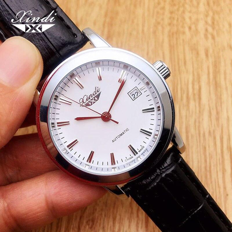 Xindi Watch Man Automatic Mechanical Clocks Fashion Luminous Calendar Leather Wristwatch Transparent Bottom Flag Parnis Trend