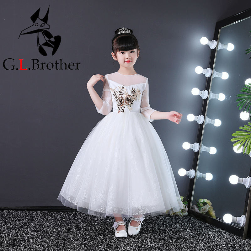 Birthday Wedding Dress New Style 2018 Flower Girl Dress White Princess Dress Appliques Girls Dresses For Evening Party AA218