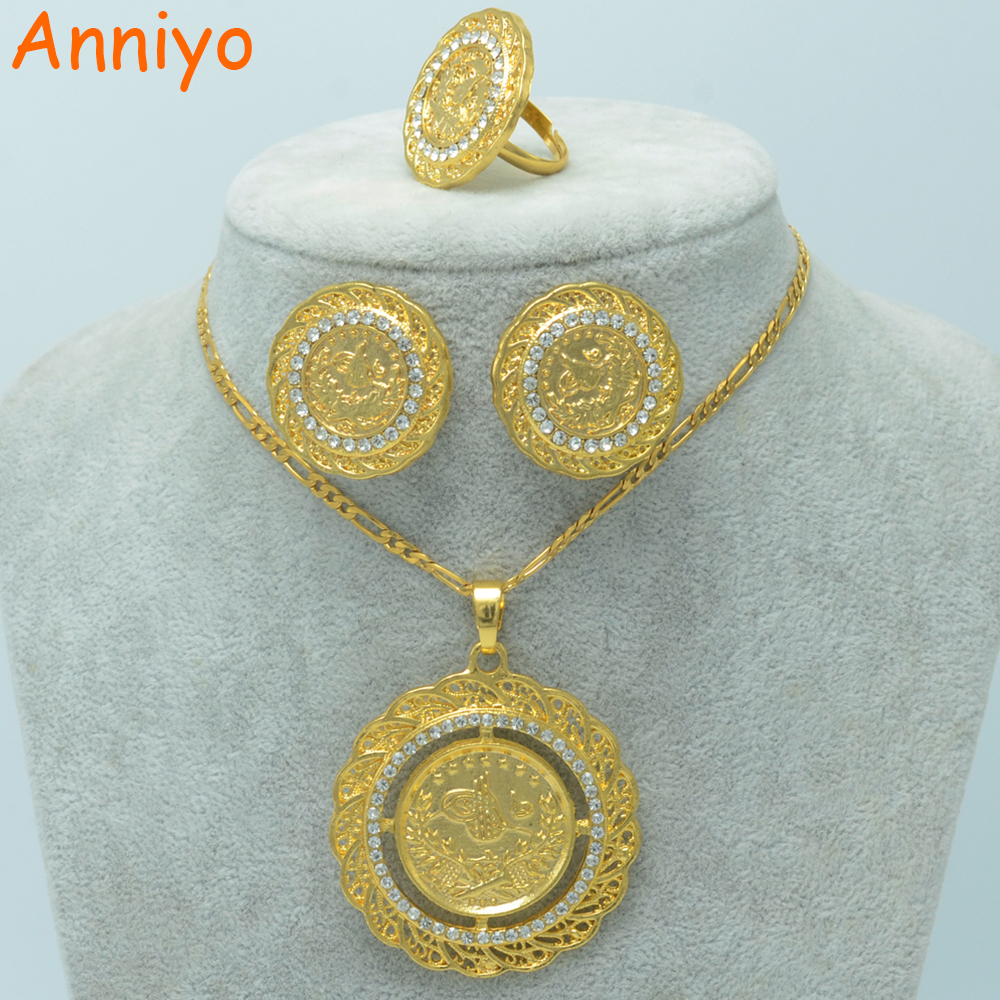 Anniyo Meatl Coin Jewelry Sets Gold Color Coins Pendant
