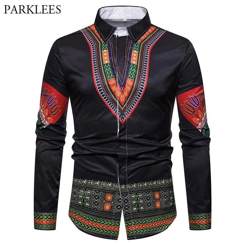 2018 Fashion Black Dashiki Shirt Men Afican Style Flora Mens Dress Shirts 3D Print Hip hop Streetwear Long Sleeve Chemise Homme