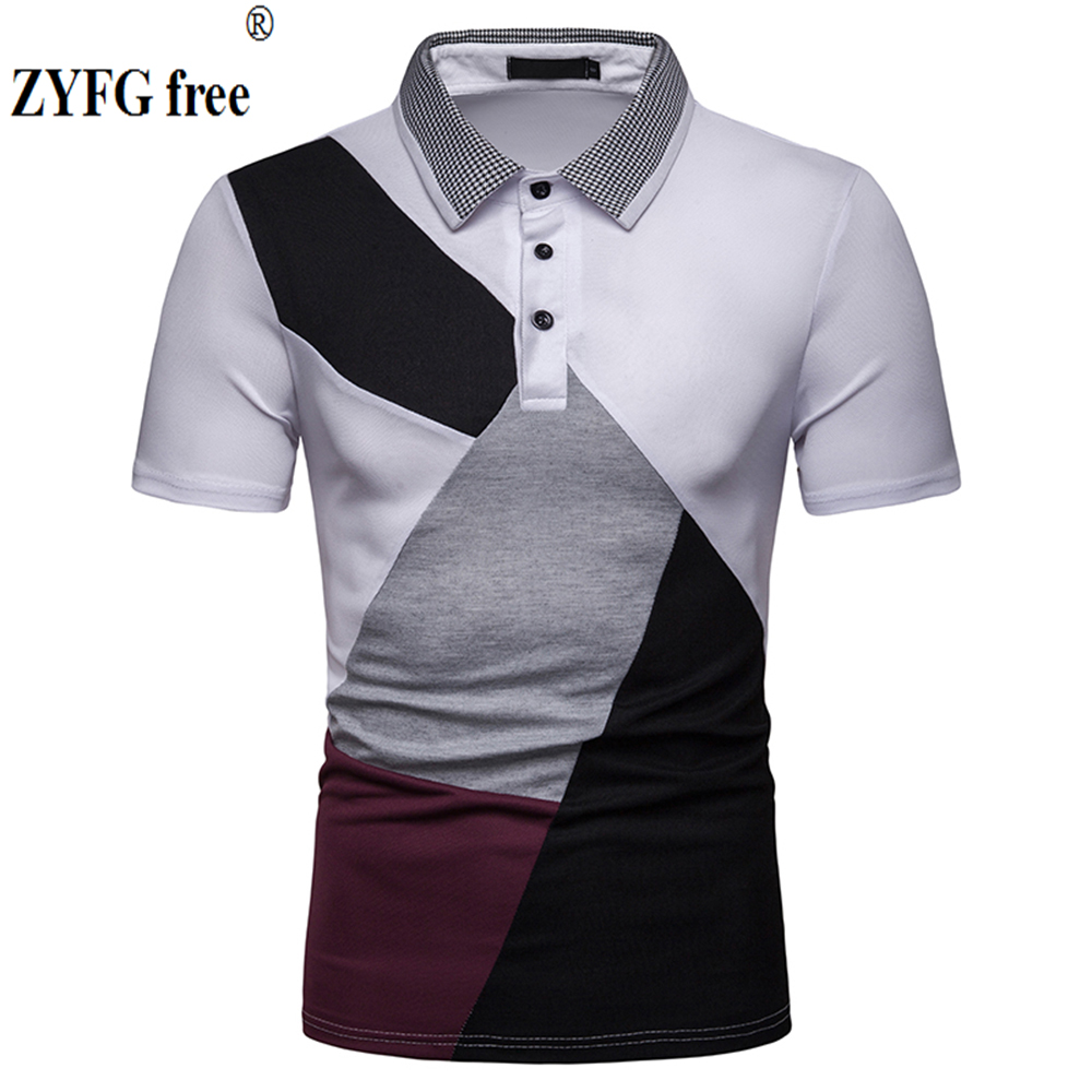 New simple wind male   POLO   shirts stitching contrast color turn-down collar short-sleeved   POLO   shirt tide youth male clothing