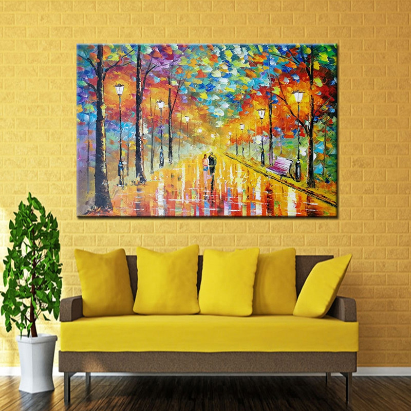 Handpainted Abstract Night Landscape Oil Paintings Large Trees Pictures Wall Art Knife Street Scenery Wall Painting on Canvas
